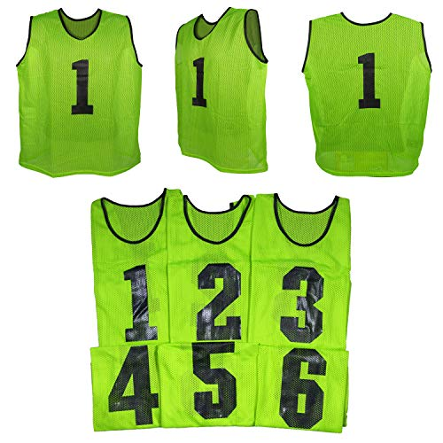 Predator Sports Two Tone Youth Athletic Scrimmage Vests # 1-6 (Neon Green, 6) ()