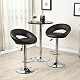 Set of (2) Bar Stools Leather Modern Hydraulic Swivel Dinning Chair Pub Pairs Stool! Dark Brown #273