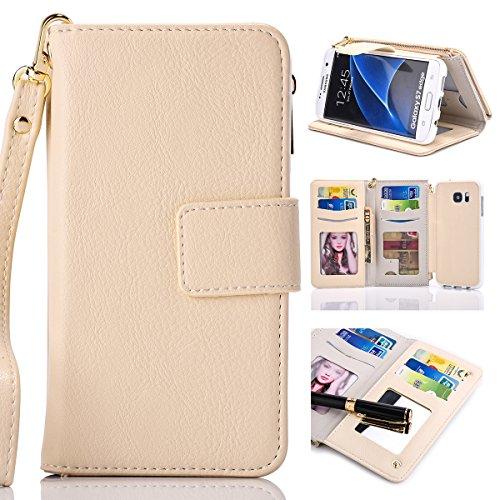Samsung Galaxy S7 Edge Cordón de bolsillo de cremallera de gran capacidad de cuero Cartera de cuero caso con muñeca separable de 360 grados de protección Portatarjetas de embrague de lujo Caja para Sa Beige