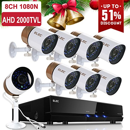 ELEC 8CH Channel 1080N AHD HDMI DVR 720P 2000TVL Home CCTV Video Security Camera System , Indoor/Outdoor 1.3MP Cameras IR-CUT Night Vision ,NO Hard - Surveillance System Dvr