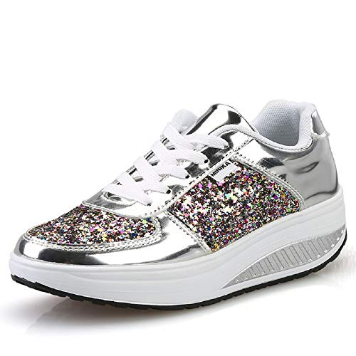Qiusa Zapatillas Gliter Shoes Mujer Lace Up Rocker Sole Platform (Color : Oro, tamaño : EU 40) Plata