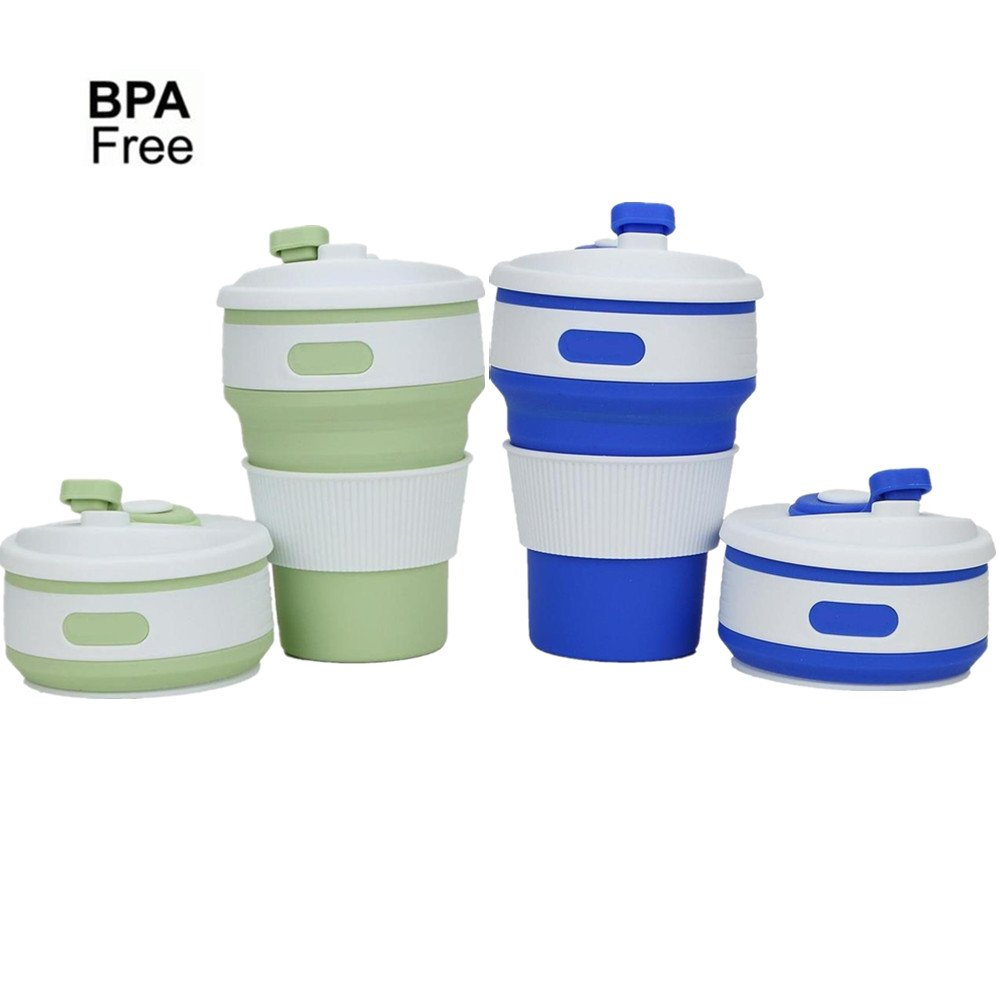 cltein Collapsibleコーヒー旅行マグ – 認定BPA Free食品グレードシリコンポケットサイズでキャンプMug with Lidポータブル、再利用可能for旅行、キャンプ、ハイキング、電子レンジ、safe-12oz B07D7RYS5Y Green + Blue Green + Blue