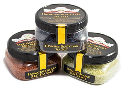 Hawaiian Sea Salt 3-Pack - Hawaiian Alaea Red, Bamboo Jade, Black Lava - All-Natural Sea Salts from the Pacific Ocean and Hawaiian Islands - Gluten-Free, No MSG, Non-GMO - Chefs Choice (12 total oz.)