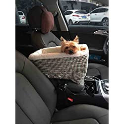 Center Console Pet Car Seats Meago Console Booster Dog seat Cashmere Cream Fur for Small Pets and Cats with Safety Belt (Plaid)