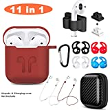 Airpods Case, Airpods Accessories Set,11 in 1 Protective Silicone Cover and Skin Compatible Apple Airpods with Anti-Lost Airpods Strap,Airpods Ear Hook/Watch Band Holder/Keychain/Carrying Box
