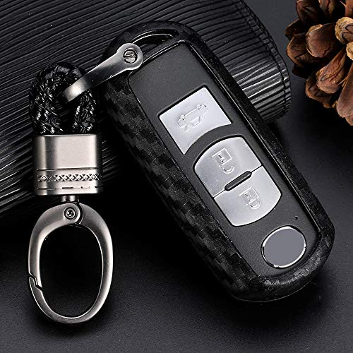 RoyalFox 2 3 4 Buttons Silicone Carbon Fiber Texture Smart keyless Remote Key Fob case Cover Keychain for Mazda 2 3 5 6 8,CX-4,CX-5,CX-7,CX-9,6 Atenza, 3 Axela