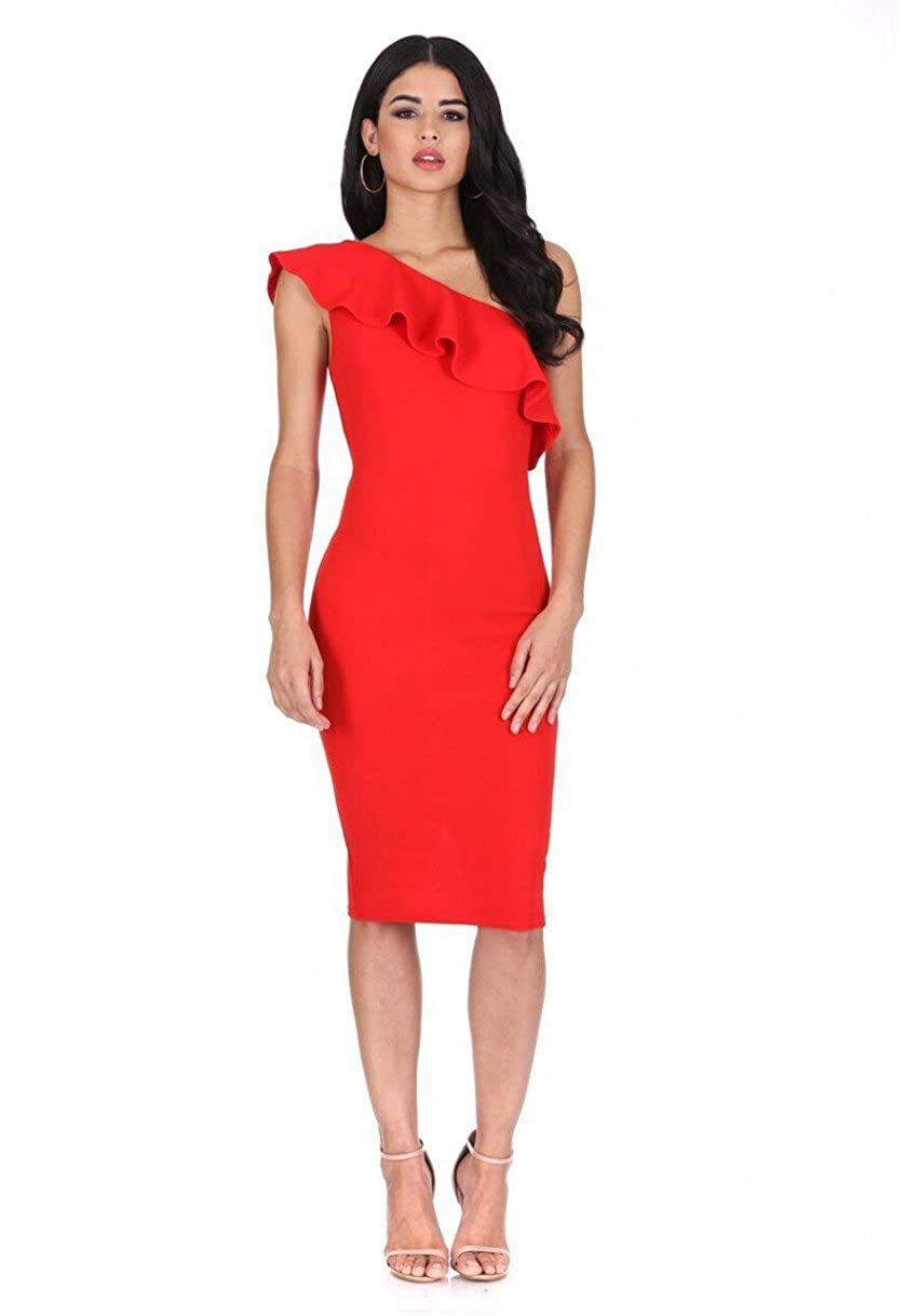 AX Paris Womens Asymmetric Frill Midi Dress
