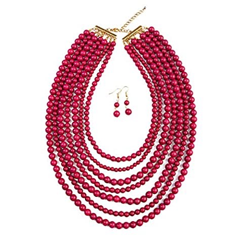 MYS Collection Women's Bubble Strand Necklace Set (Plum) - Coral 3 Strand Necklace