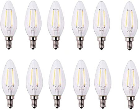 Amazon Com Ecosmart 25 Watt Equivalent B11 Candle Dimmable Energy Star Clear Glass Filament Vintage Led Light Bulb Daylight 12 Pack Home Improvement