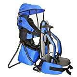Clevr Cross Country Baby Backpack Carrier with Stand and Sun Visor Shade Child Kid Toddler, Blue, Upgraded Foot Straps for More Support | Lightweight - 5lbs