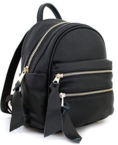 Tom & Eva Rhea 1194 Tasche Rucksack Backpack Schwarz Medium, große Gold Zipper aus Vegan Leder für Damen