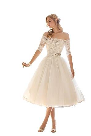 fa06bc5981092 Isabelwedding Women's Off The Shoulder Bateau Short Lace Wedding Dress  White US2