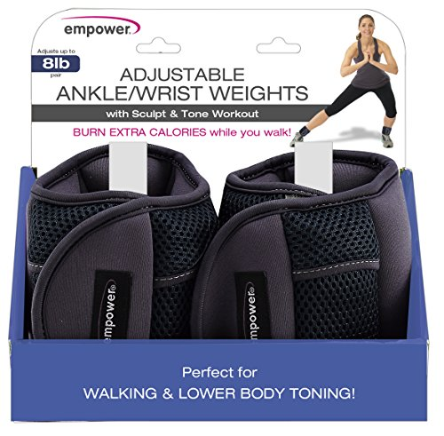 Empower Ankle Weights for Women, Adjustable Weights, Running, Walking, Exercise, Resistance Training, 8 lb Set, Blue