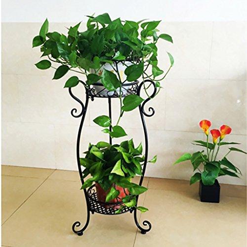 Flower Stand 2 Tiered Scroll Decorative Metal Stands Plant Indoor Flower Pot Rack Display Shelf Holds 2 Flower Pot (Color : A)