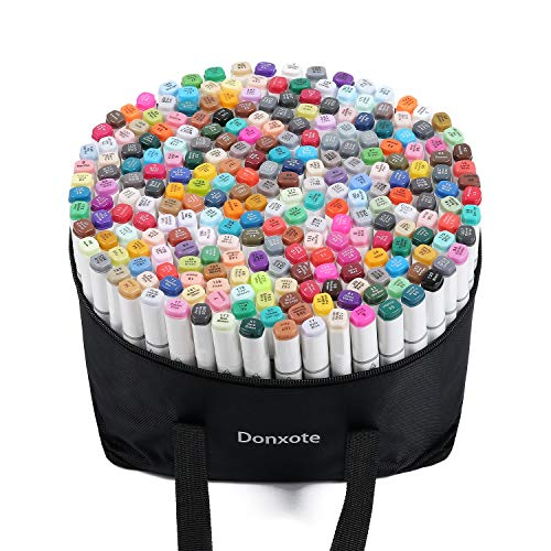 Donxote 168 Color Dual Tip Permanent Sketch Markers Art Alcohol Cartoon Graphic Drawing Adults Kids Drawing Coloring Marker Highlighter Pens