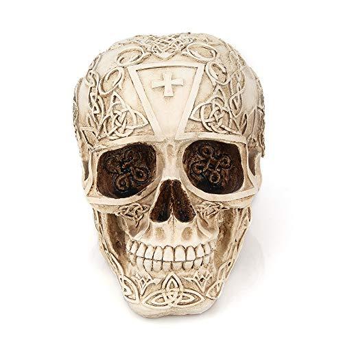Price comparison product image Festnight Human Skull Skeleton Model Statue Realistic Faux Human Anatomy Bump Carving Figurine Halloween Decoration Ornaments Table Head Home Decor Sculptures Cranium Décor Accents