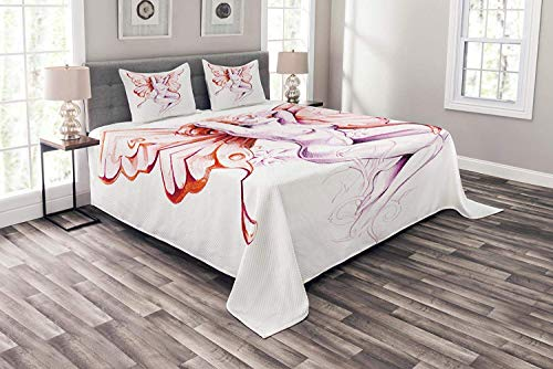 Lohebhuic Tattoo Coverlet Set Queen Size, Nude Fairy Angel with Feathered Wings Like Butterfly Artistic Feminine Sexy Art, Decorative Quilted 3 Piece Bedspread Set with 2 Pillow Shams, Lilac - Art Sexy Fairy