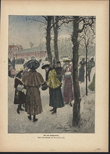Women in New Fur Clothing 1892 antique ice skating hand color engraving ()