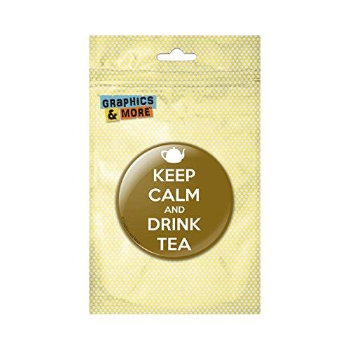 Keep Calm And Drink Tea Teapot Pinback Button Pin Badge - 1 Inch Diameter