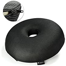 Hemmoroid Pillow w/ Half Donut Seat Cushion Design - Premium Memory Foam for Hemorrhoid & Post Pregnancy, Sciatic Nerve, Prostate, Coxis, Tailbone & After Surgery Pain Relief by CT