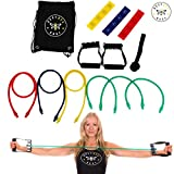 Busy Bee Body Ultimate Portable Resistance Band Set - with Mini Loops, Door Anchor, Handles, Drawstring Backpack - for Exercise Training, Home or Office Workouts