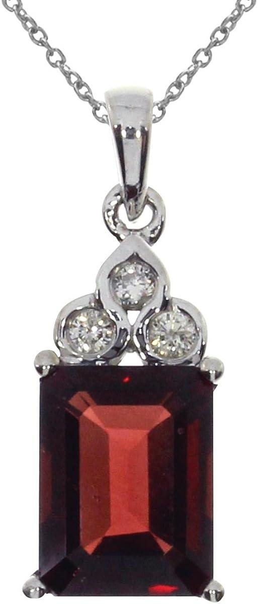FB Jewels Solid 14K White Gold Garnet Diamond Pendant