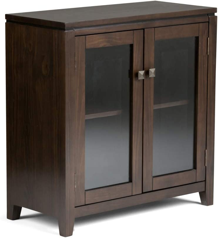 SIMPLIHOME Cosmopolitan SOLID WOOD 30 inch Wide Contemporary Low Storage Cabinet in Mahogany Brown, with 2 Tempered Glass Doors, 2 Adjustable Shelves