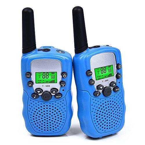 HBirdPc Walkie Talkies for Kids, 2 Mile Range, Built in Flash Light - Best Gifts (Blue)