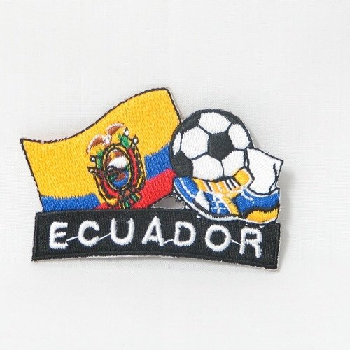 Ecuador Soccer Football Kick Country Flag Embroidered Iron on Patch Crest Badge ... 2 X 1 3/4 Inch .. New