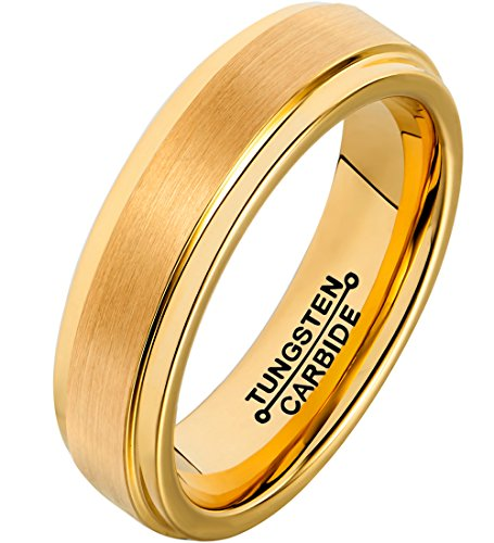 FCL Rings for Men 18K Gold Plated 6mm Tungsten Carbide Wedding Band Matte Brushed Polished Size - Ripka Ring Judith 18k