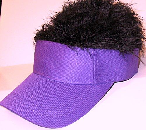 The Original Flair Hair Visor, Purple Visor, Black Hair (Hats With Hair Attached)