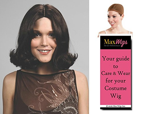 Charlie's Angels 1970s Costumes (Bundle 3 items: Kate Jackson Wig Charlie Angel Sabrina Duncan 70s Flip Women's Halloween Enigma Wigs - Color Black, Wig Cap, MaxWigs Costume Wig Care Guide)