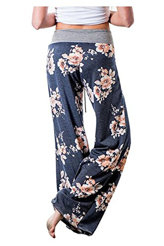 Aifer Women's Pajama Comfy Chic Floral Print Lounge Drawstring Palazzo Long Wide Leg Pants by Aifer (Image #2)
