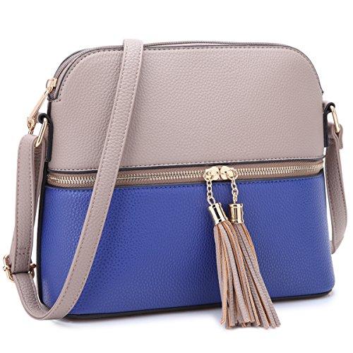MKP Collection Women Crossbody Bag Multi Zipper Travel Shoulder Messenger Purse~Tassel Accent Medium Crossbody Bag~Lightweight Fashion Medium Crossbody Bag with Tassel for all season Stone/Blue)