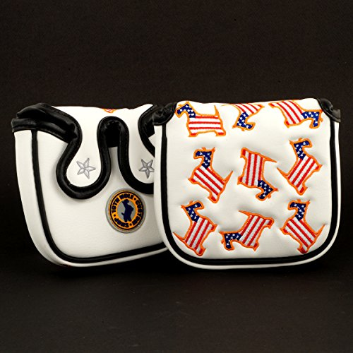 19th Hole Custom Shop US Flag Dancing Scottie Dog High-MOI Mallet Putter Headcover, White, Golf Head Cover