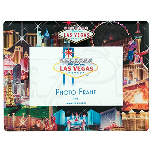 Las Vegas GLASS PICTURE FRAME, BLACK BACKGROUND STRIP COLLAGE (HOLDS ONE 4