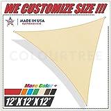 ColourTree 12x12x12beige x 12' x12' Sun Shade Sail Triangle Beige Canopy Awning