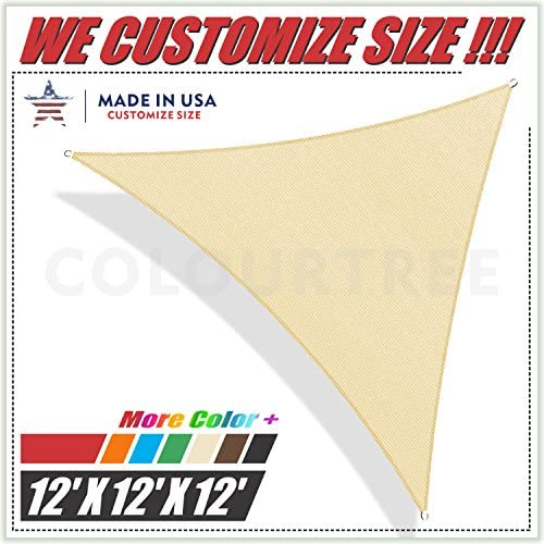 ColourTree 2nd Gen 12 x 12 x 12 Beige Sun Shade Sail Triangle Canopy Awning UV Resistant Heavy Duty Commercial Grade, We Make Custom Size