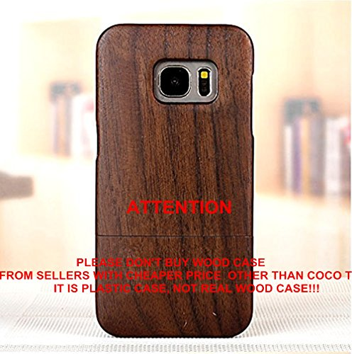 Galaxy S7 Edge case, S7 Edge wooden case CoCo@ 100% Unique Genuine Handmade Natural Wood Case Hard Bamboo Shockproof Case as Artwork for New Samsung Galaxy S7 Edge G9350 (2016)(Walnut Wood) (5 Iphone Grain Wood)