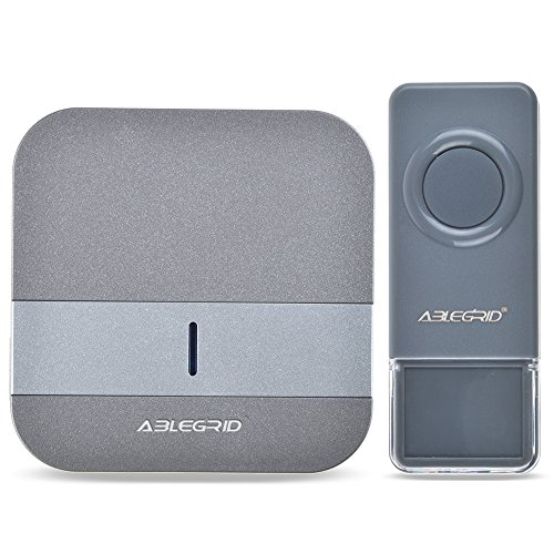 ABLEGRID Portable Wireless Doorbell with 900-feet, 52 Chimes, IP44 Waterproof Transmitter, 4-Level Volume with LED Indicator Doorbells, No Batteries Required for Receiver ( FX-B13-2 )