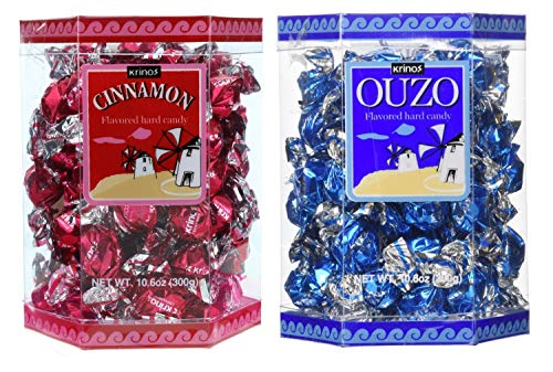 Krinos Ouzo Candy - Greek Favorite – Cinnamon and Licorice Flavored Treats - Delicious Hard Candy - All Natural Flavors - No Alcohol and No Gluten - Perfect for Parties, Party Favors, or Gifts (2pk)