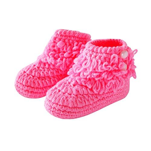 CHIC-CHIC Baby Strick Schuhe Warm Steifel Winter Weich Prewalker Krabbelschuhe Prewalker Säugling Krippe Lauflernschuhe 3-12 Monate (Rosa)