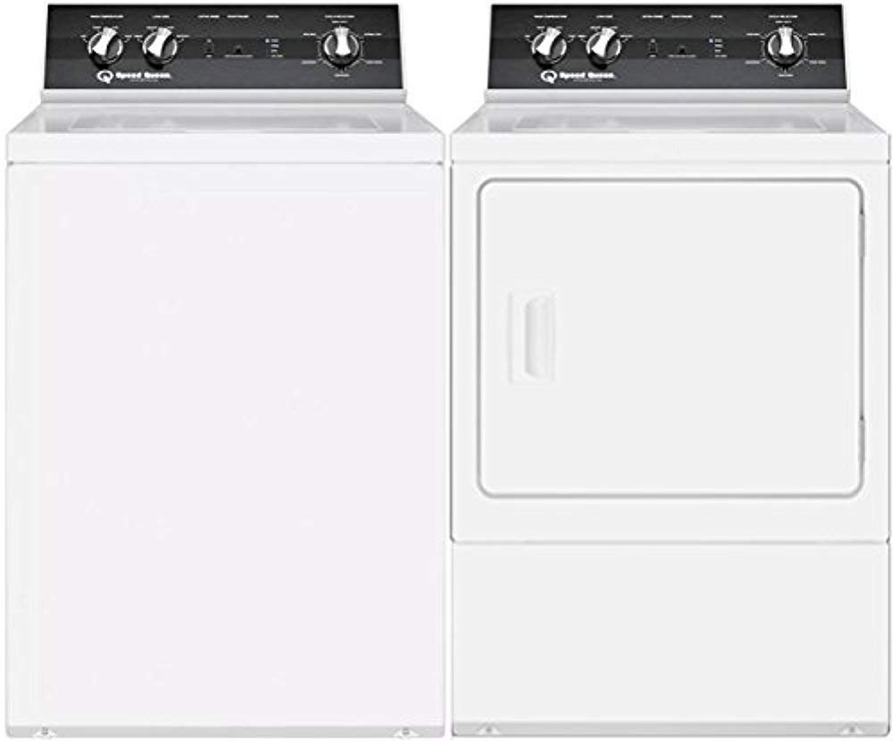 """Speed Queen White Top Load Laundry Pair with TR5000WN 26"""" Top Load Washer and DR5000WG 27"""" Gas Dryer"""