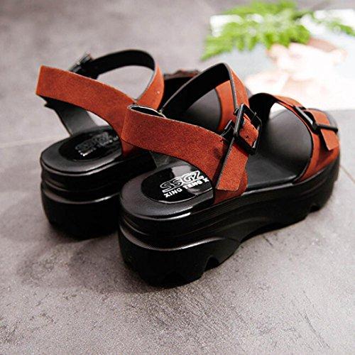 Sandalias Mujer, Culater Plataforma Zapatillas de Polipiel Senderismo Rojo