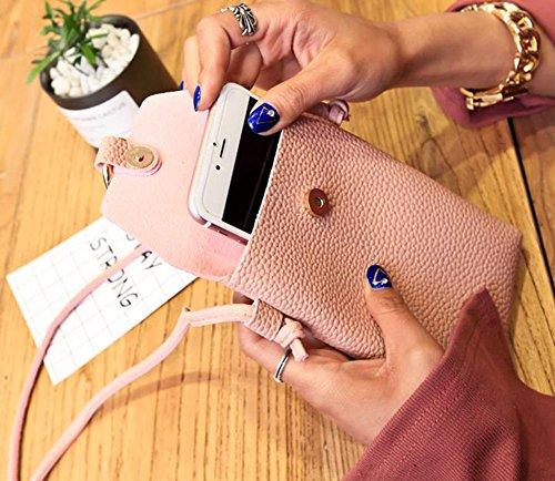 Joyfeel 1Pcs Mobile Coin Leather Pink Women PU Simple Buy Phone Leisure Bag Messenger Purse Bag Black HwrHxfBUq