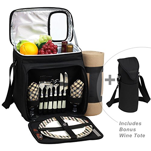 Picnic at Ascot Original Cooler Equipped for 2 with Extra Wine Tote and Blanket - Designed and Assembled in California - London Plaid (Corporate Wine Gifts)