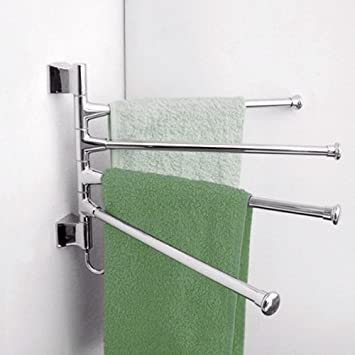 High Quality Vktech Wall Mounted Swing 4 Arm Kitchen Towel Rack,Stainless Steel