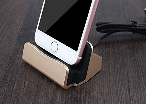 Charging dock, desktop stand charging docking station for iPhone 5, 6, 7 (Gold)