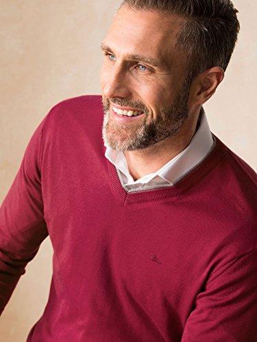 Walbusch Herren Baumwoll-Pullover Rot einfarbig Gr. 50