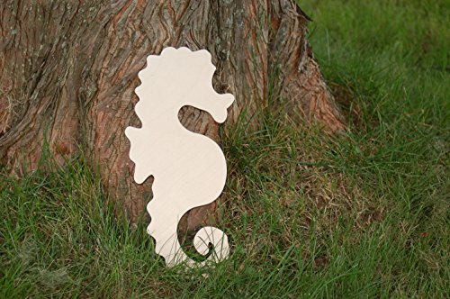 Sea Horse Wooden Cutout Unfinished Birch 16